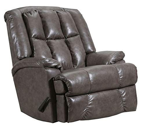 Lane Clint Big Man Comfort King Wallsaver Recliner In Grey Leather Vinyl Rated For Weights Of Up To 500 Lbs Built Rocker Recliners Recliner Upholstered Sofa