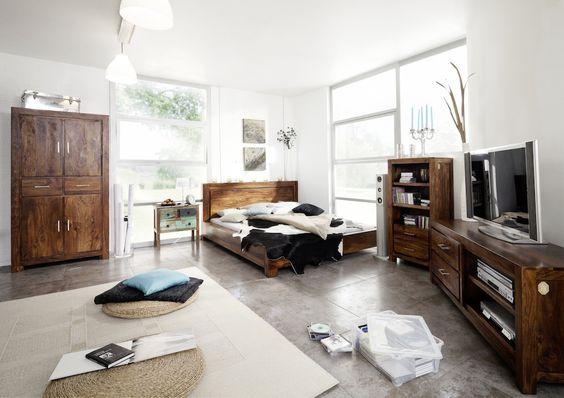 Schlafzimmer aus massivem Sheesham, Palisander Holz / Serie METRO ...