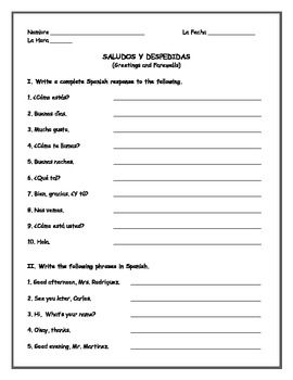 Printables Spanish Greetings And Goodbyes Worksheets spanish greetings and worksheets on pinterest farewells practice worksheet