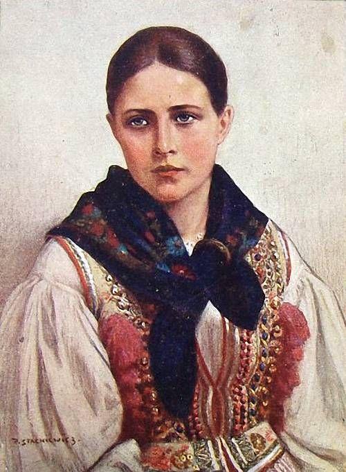 Folk costume from Kraków region, Poland; painting by Piotr Stachiewicz.