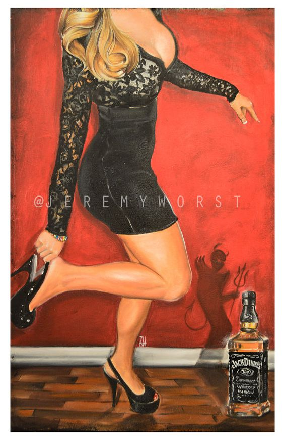 JEREMY WORST Dancing with the Devil Again Artwork Signed Poster Print poster size jack daniels
