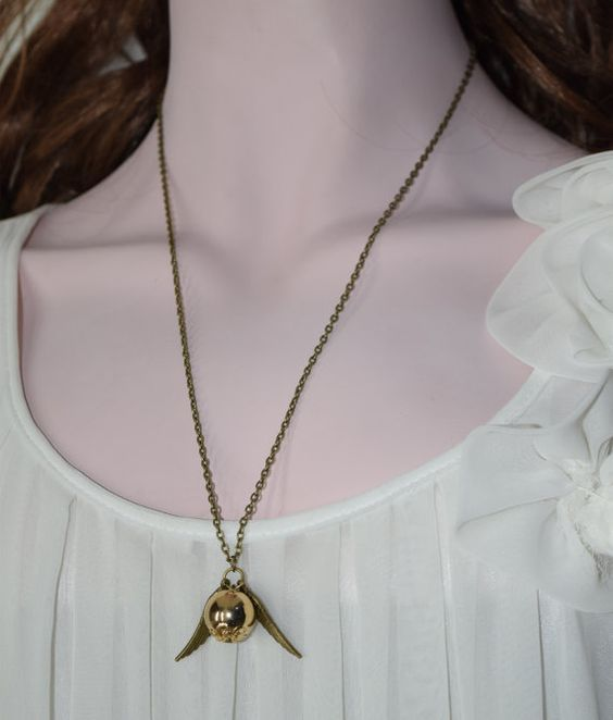 Harry Potter NecklaceGolden snitch Necklace with sided by LYLSZZ