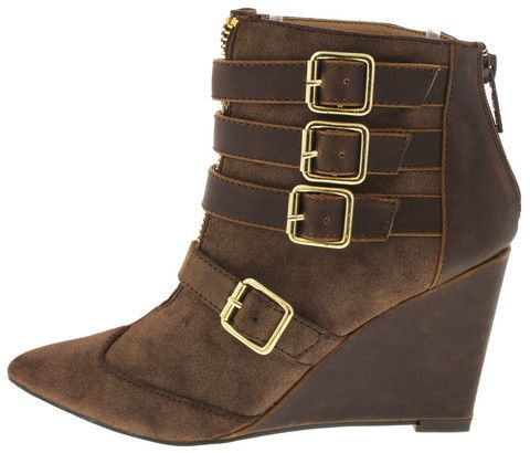 ULANI BROWN POINTED TOE WEDGE BOOT