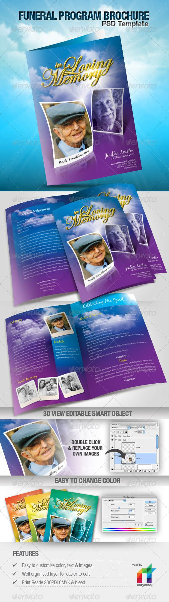 Funeral program brochure template programs tokerns for Program brochure templates