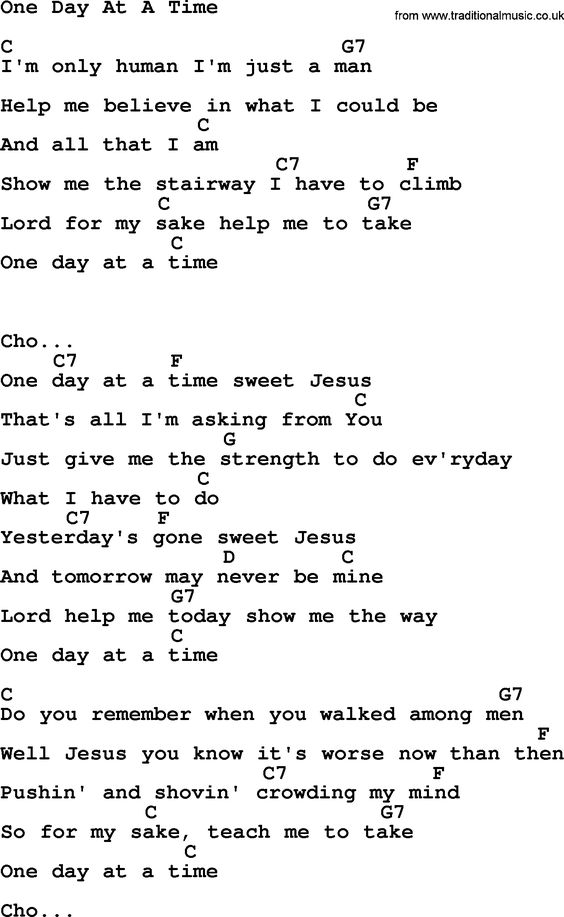 Kris Kristofferson song: One Day At A Time lyrics and chords ...