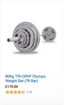90Kg TRI-GRIP Olympic Weight Set - #Fitness #Cardio #Gym #Nutrition