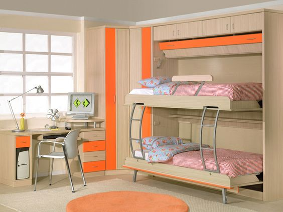 Dormitorio juvenil para espacios peque os con literas for Diseno de habitacion principal pequena