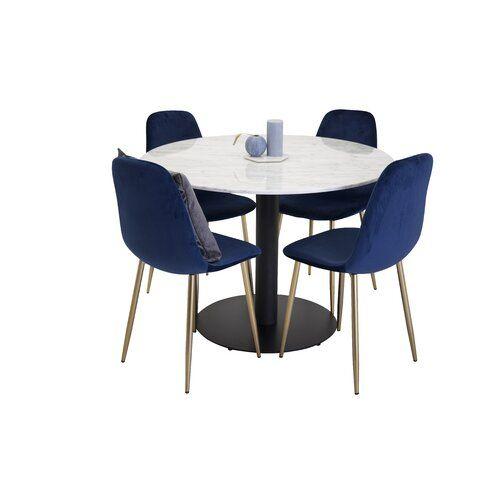 Essgruppe Mabel Mit 4 Stuhlen Canora Grey Farbe Tischplatte Weiss Farbe Tischgestell Schwarz Farbe In 2020 Tisch Hohenverstellbar Verstellbarer Tisch Esstisch