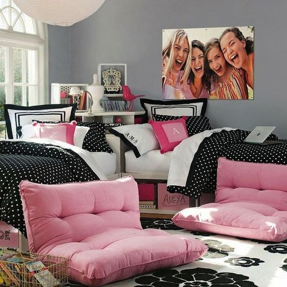 Teen room decor, Black white pink and Bedroom ideas on