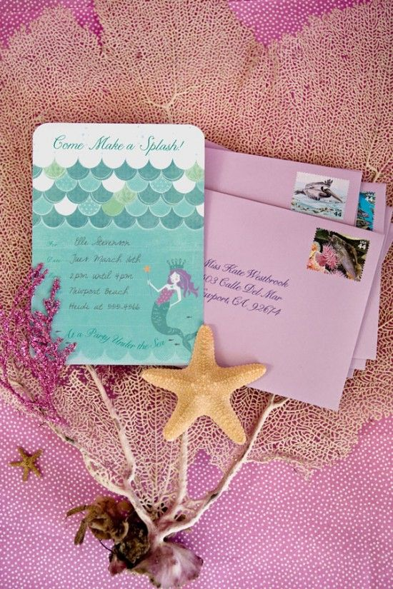 Mermaid party invites. Probably never having a mermaid party, but I like the look of this invite. See what else they have?