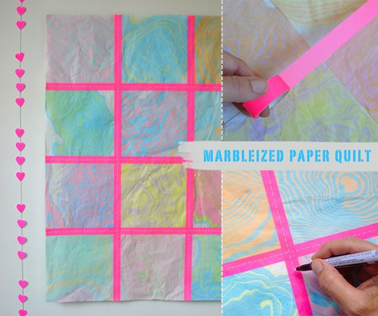 Marbleizing with Kids – DIY Marbleized Paper Quilt – Outdoor Summer Craft – Collaborative Art   Small for Big
