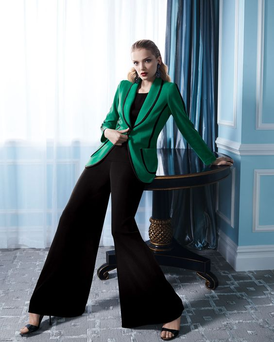 Misook Modern Faux-Suede-Piped Jacket, Sleeveless Knit Tank & Fit & Knit Palazzo Pants - Neiman Marcus