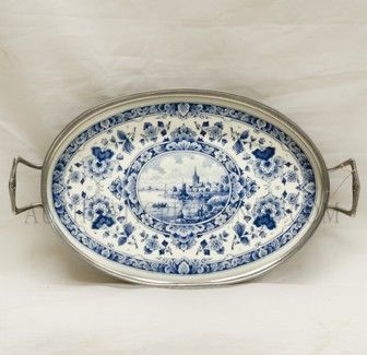 DELFT TRAY  AUTHENTIC DELFT BASE FROM BELGIUM   SET IN SILVER FILIGREE TRAY
