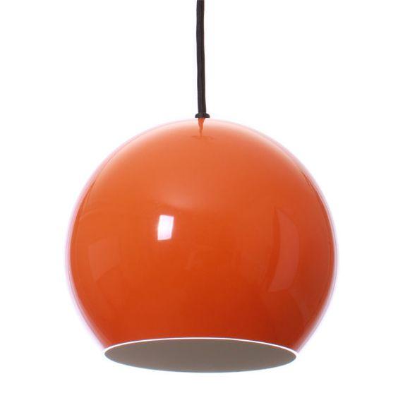 TOPAN pendant by Verner Panton - 1960s - Louis Poulsen. Danish mid-century design lighting. Iconic orange ball hanging lamp.