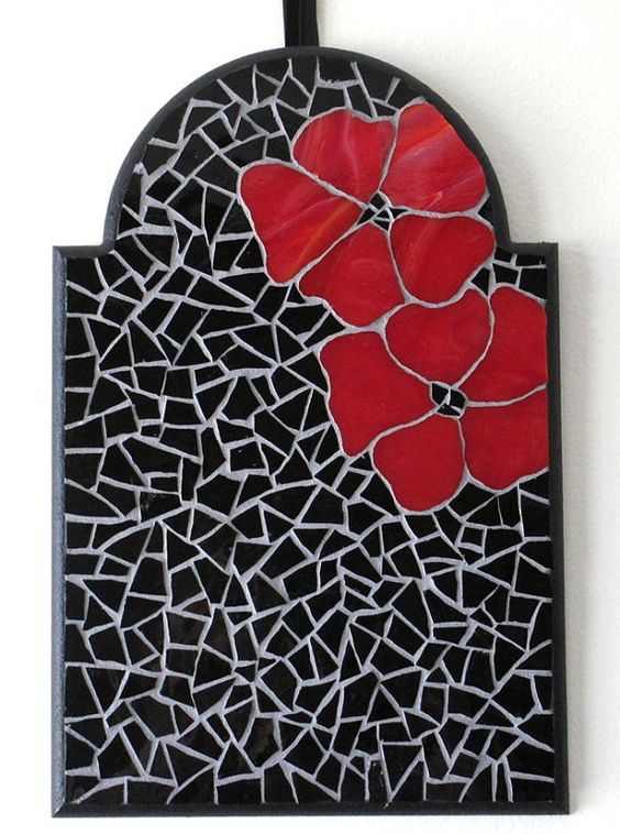 Red Mosaic Wall Decor : Glass mosaic art gothic home decor red flower wall