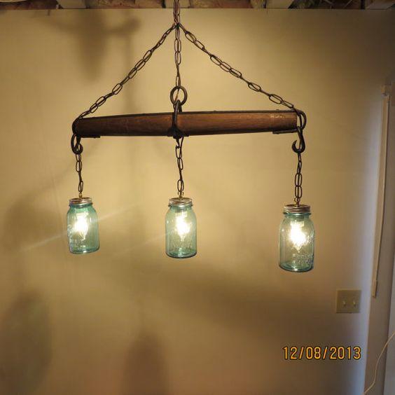 Just Reduced!! Rustic Handmade 3 Bulb Hanging Light