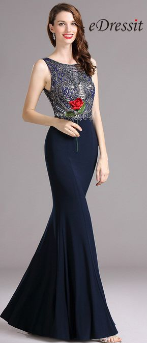 eDressit Carlyna Dark Blue  Prom Dress with Beaded Bodice