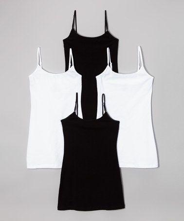 Another great find on #zulily! Black & White Long Camisole Set - Women #zulilyfinds