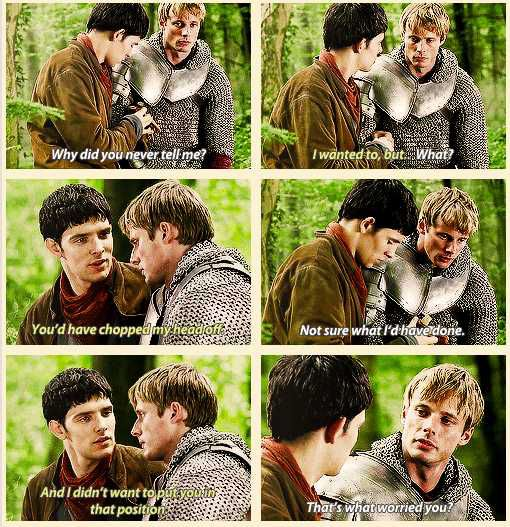This is when it hit Arthur, all that Merlin has done for him, all in private, just so Arthur would never had to face the decision
