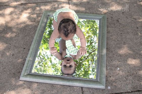 6 Month Old Picture Ideas | month old boy on mirror