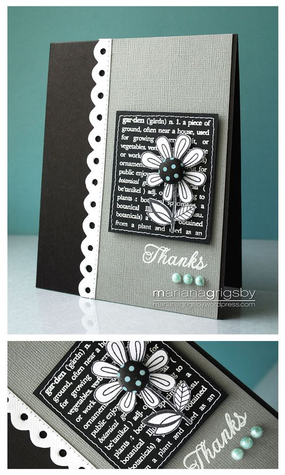 Love black and white!: Card Idea, White Card, Cards Flowers, Thank You Card, Cards Thank, Wedding Card, Cards Black, Pretty Card