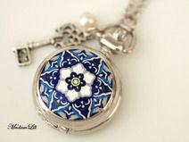 """♥""""Sommernächte""""♥ Mini Silber Uhrenkette Uhr"""