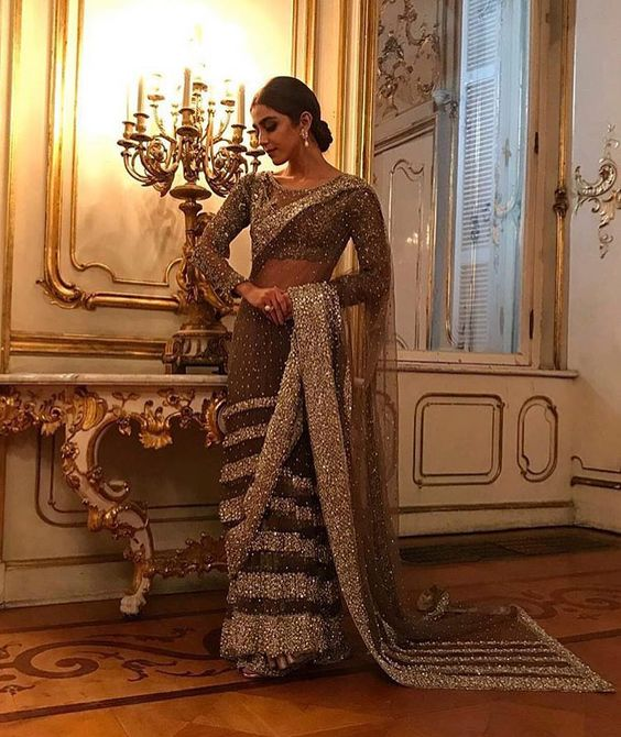 Embroidered glittery saree for bridals