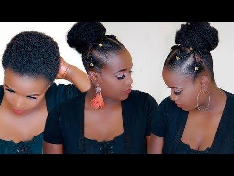 Summer Top Knot Bun With Tribal Braids On 4c Natural Hair Youtube Natural Hair Styles 4c Natural Hair Bun Hairstyles