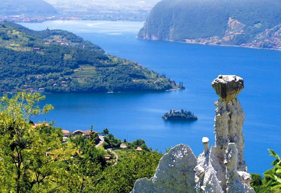 Lago d'Iseo, site of artist Christo's amazing walk-on-water installation, 2016