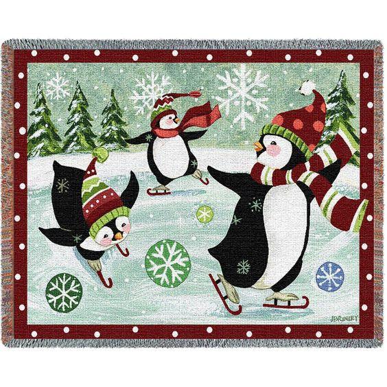 Penguins Ice Skating Art Tapestry Throw