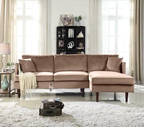 Mid Century Modern Brush Microfiber Sectional Sofa L Sha Https
