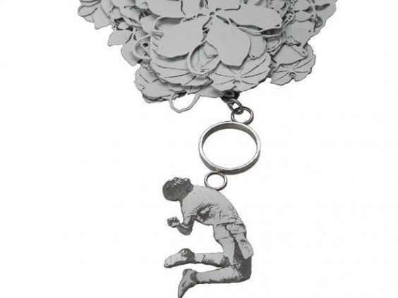 "Machteld Van Joolingen - Brooch ""Dreams"" - steel, silver, veneer, paint - 1300,00€:"