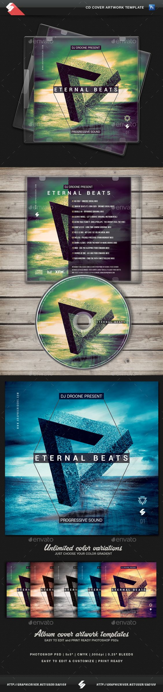 Eternal Beats - Progressive Sound CD Cover Template PSD. Download here: http://graphicriver.net/item/eternal-beats-progressive-sound-cd-cover-template/14427831?ref=ksioks