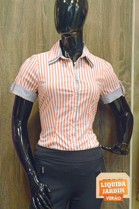 Camisa manga curta listrada -Amelie Amora. R$189,90 32%.  -Loja: Liz Camisaria.