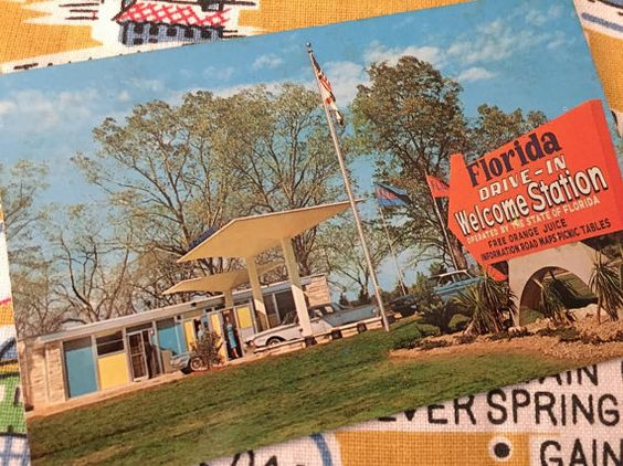 Vintage Florida postcard 1960s welcome station by 3floridagirls