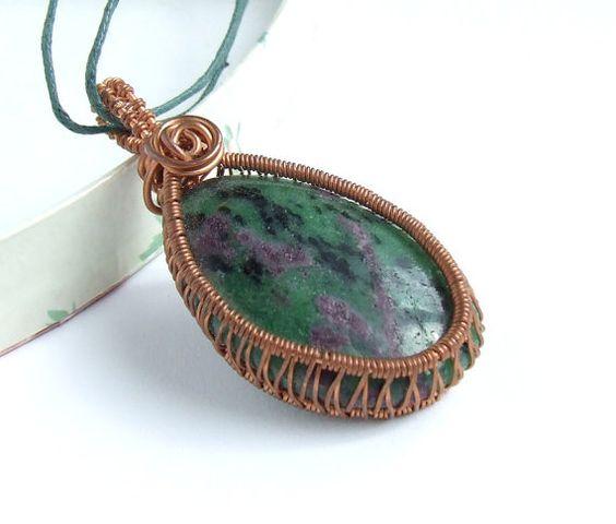 Earth tone Zoisite ruby pendant by VeraNasfa, $26.00