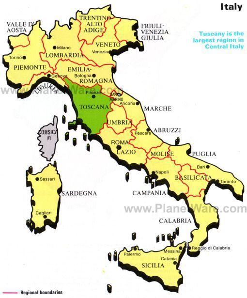 Tuscany Italy Map Tuscany Italy Toskana Italien Karte Carte