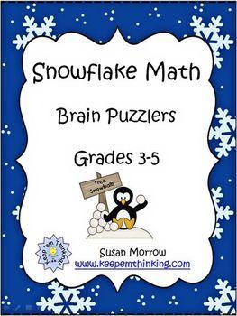 Snowflake Math Brain Bogglers - Susan Morrow - TeachersPayTeachers.com