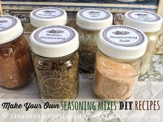 Make Your Own Seasoning Mixes DIY Kit. Recipes, printables.