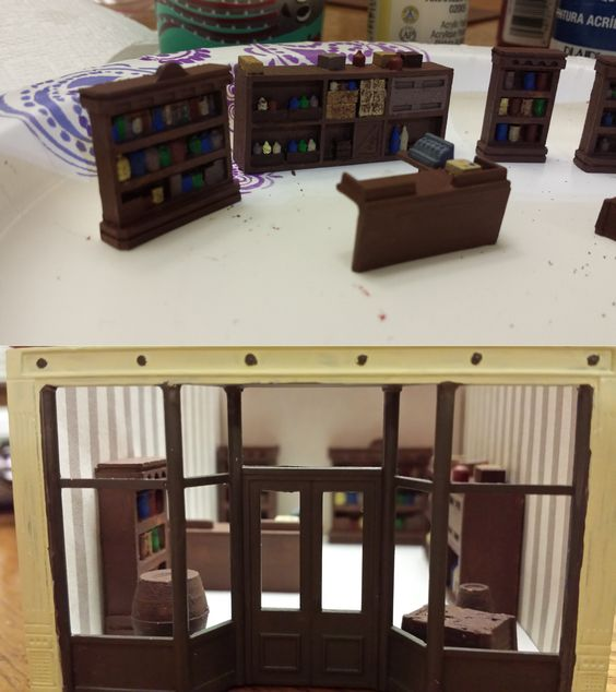 Whittemore Ho Scale Train Table Feb 2015 Downtown Buildings Hardware Store Interior