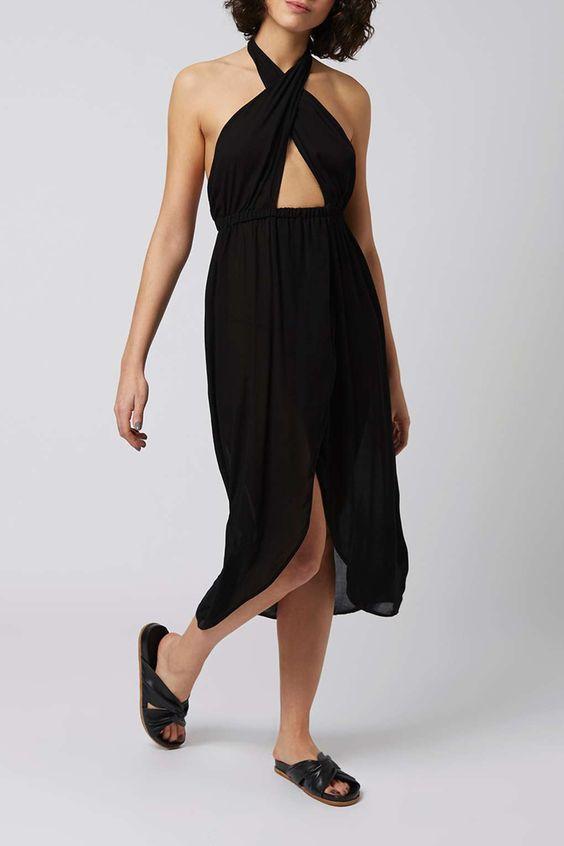 Wrap Halter Neck Maxi Dress - Topshop