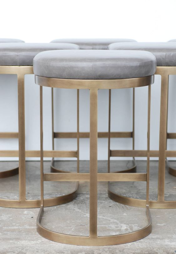 Milo Baughman Burnished Brass Bar Stools in Grey Leather image 4: