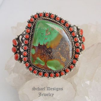 Nelvin Burbank Mediterranean Coral Turquoise & Sterling Silver Cuff Bracelet | Schaef Designs  | New Mexico