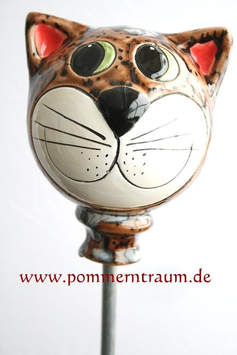 gartenstecker keramik katzenkopf braun marmoriert | töpfern: tiere, Garten Ideen