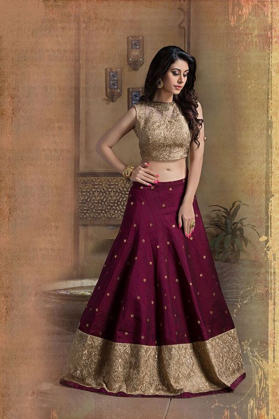 Purple lehnga with embroidered beige top for brides