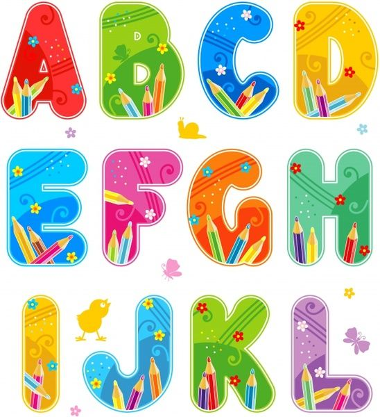 Vector Colorful Font Design Alphabet Free Vector In Encapsulated