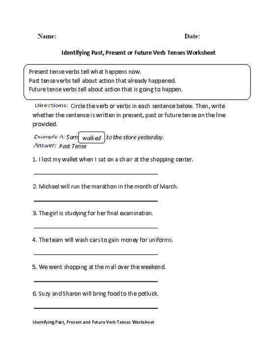 Printables Past Present And Future Tense Worksheets identifying pastpresent or future verb tenses worksheet worksheet