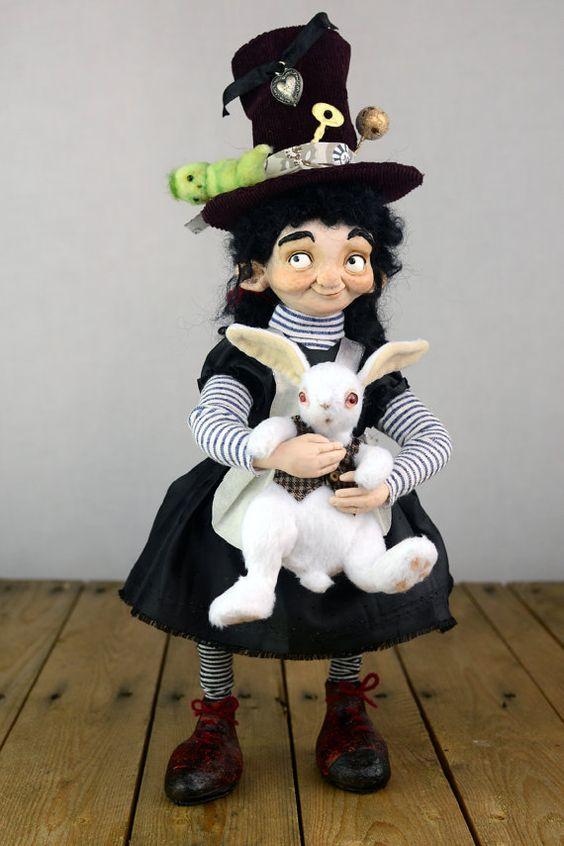 OOAK Kunst Puppe festgelegt Alice und das von Linas4oClockFriends