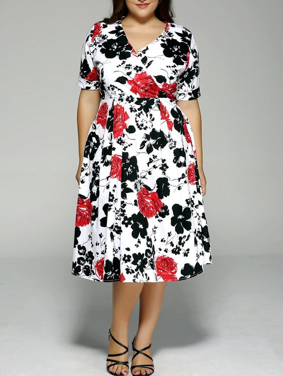 $18.14 Plus Size Vintage Faux Wrap Floral Midi Dress