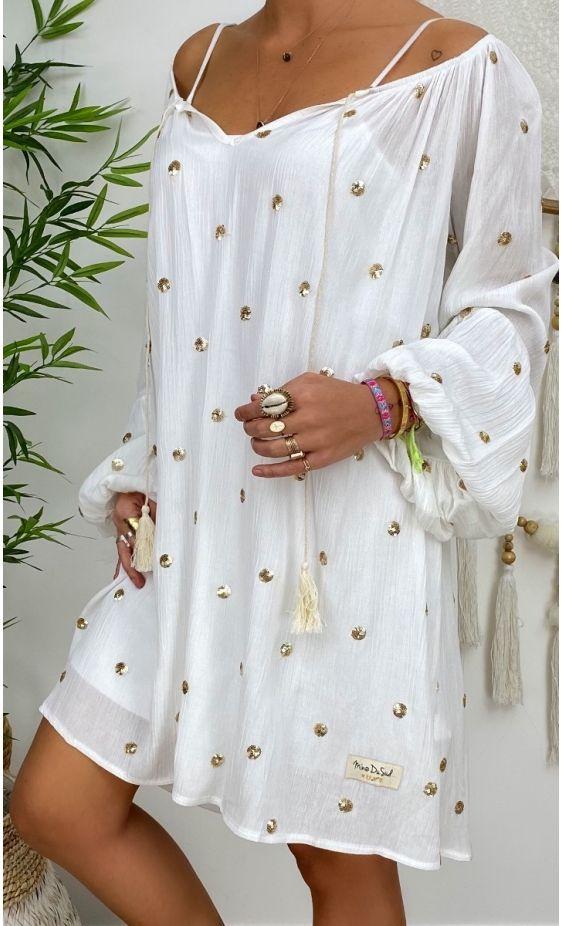 Petite Robe Lana Blanc Casse Pois Sequins Or In 2020 Anziehsachen Anziehen
